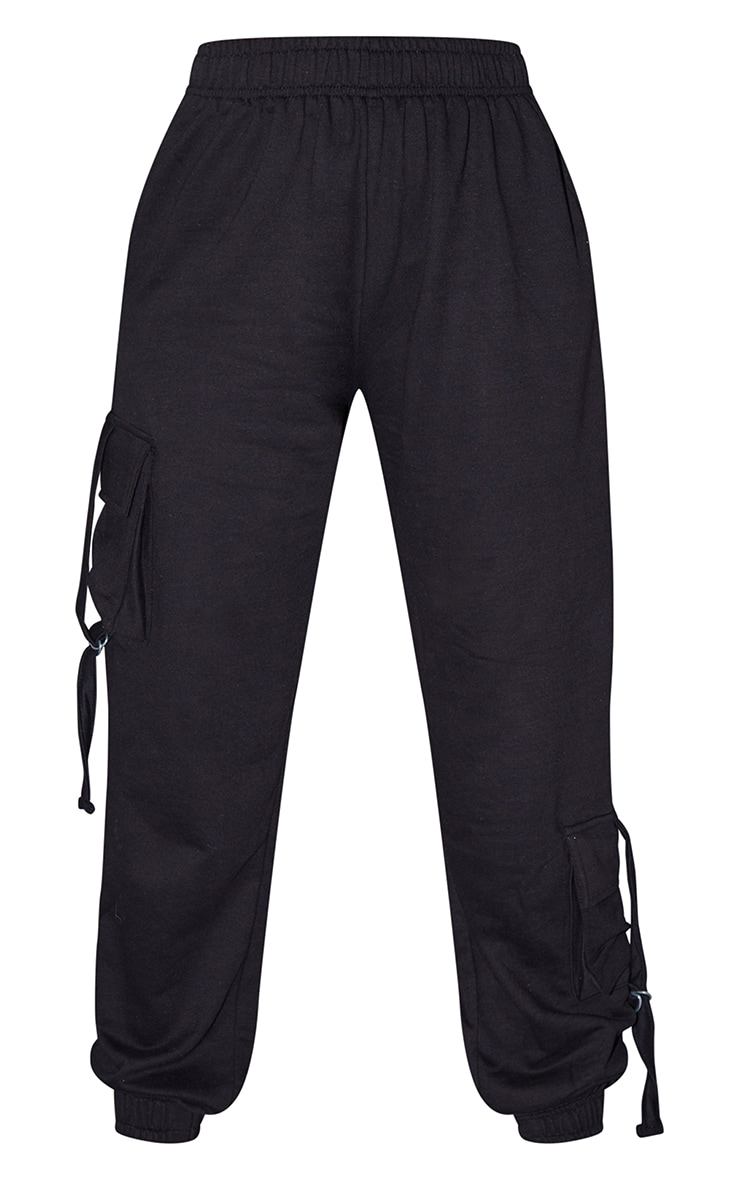 Tall Black Cargo Detail Casual Track Pants 5