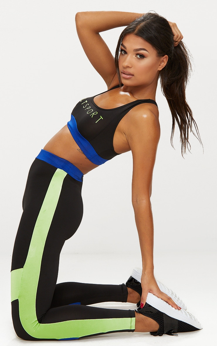 Black Contrast Panelled Sports Leggings 1