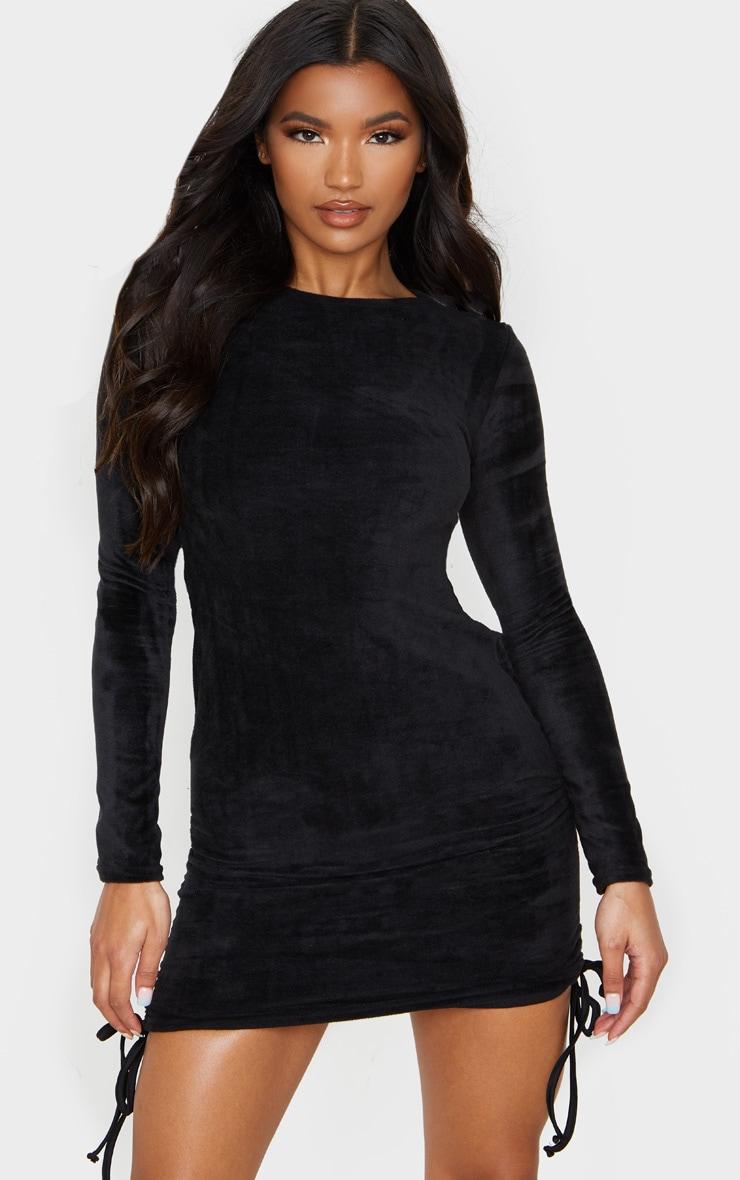 Black Fluffy Ruched Side Bodycon Dress 4