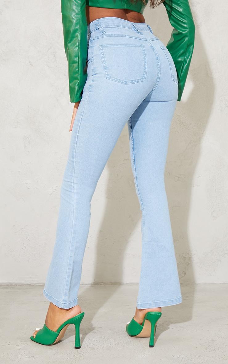 بنطال جينز بقصة واسعة من الدنيم المطاطي بلون باهت فاتح مقاس صغير 3
