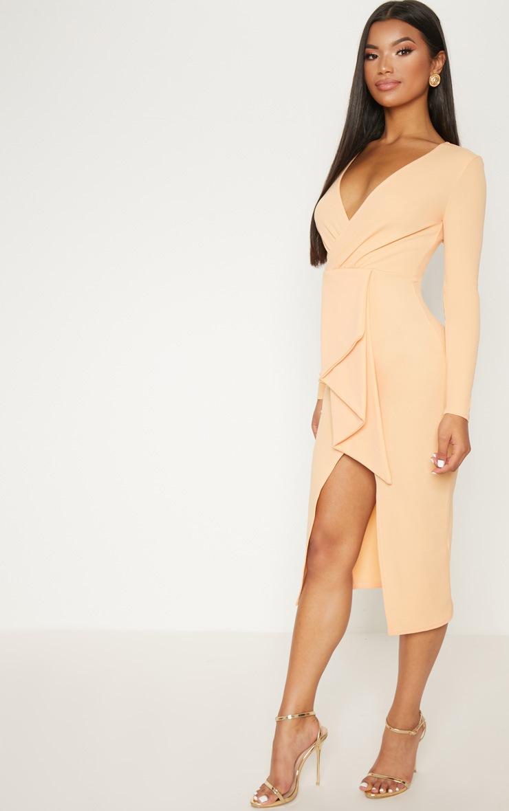 Tangerine Frill Midi Dress 4