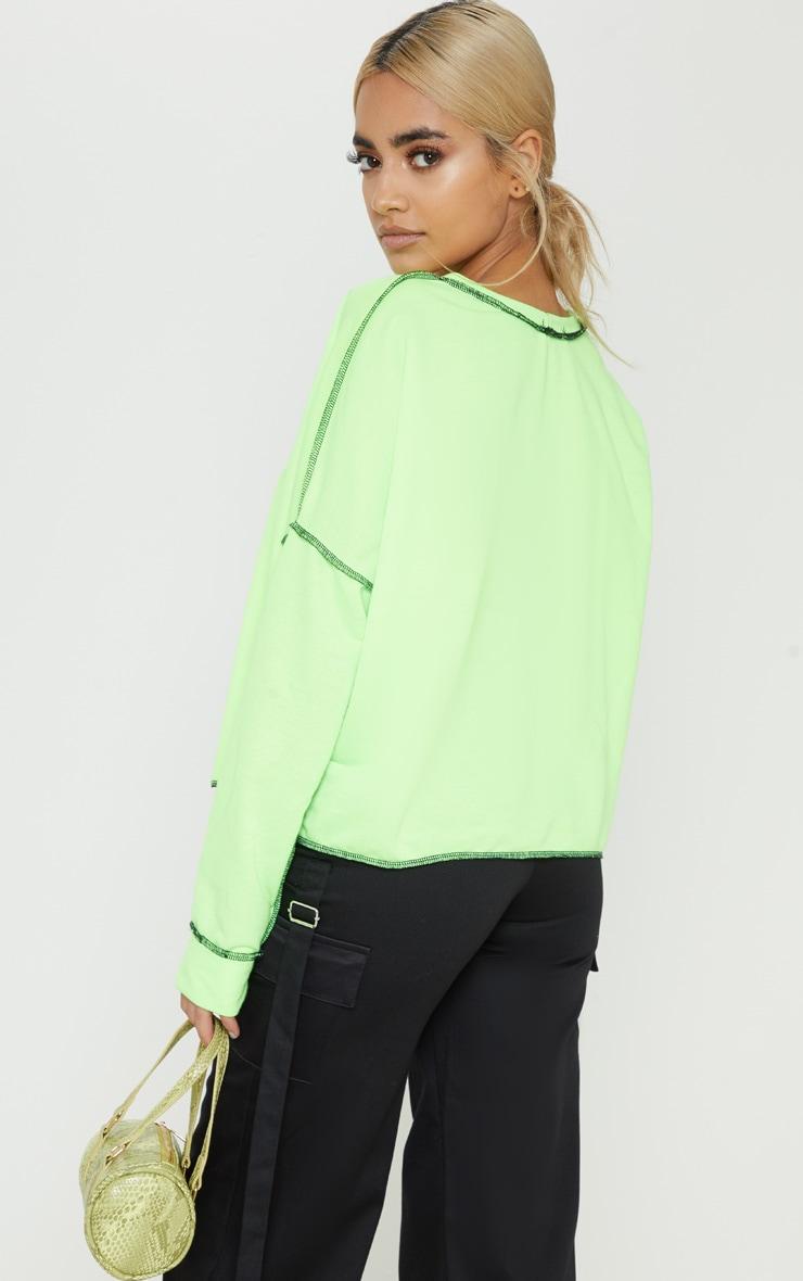 Petite - Pull ample vert citron fluo à slogan 2