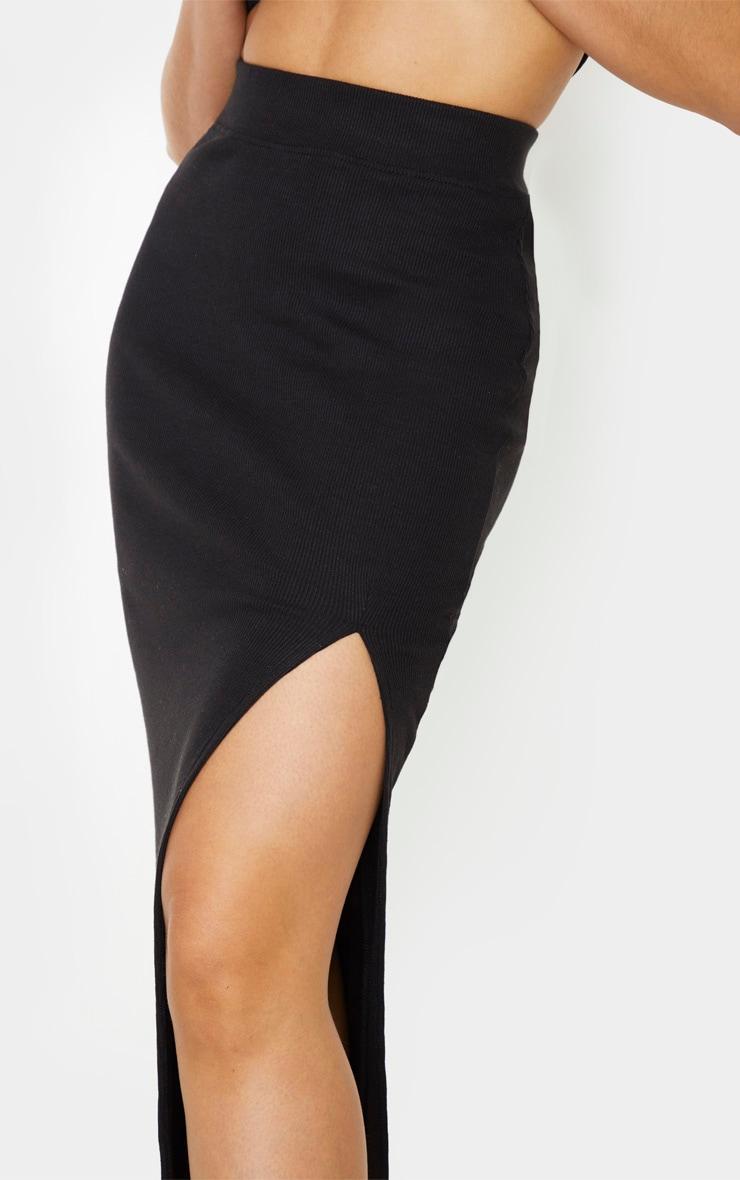Tall Black Heavy Rib Midi Skirt 5