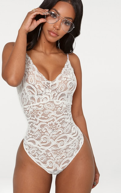 Shape White Sheer Lace Bodysuit
