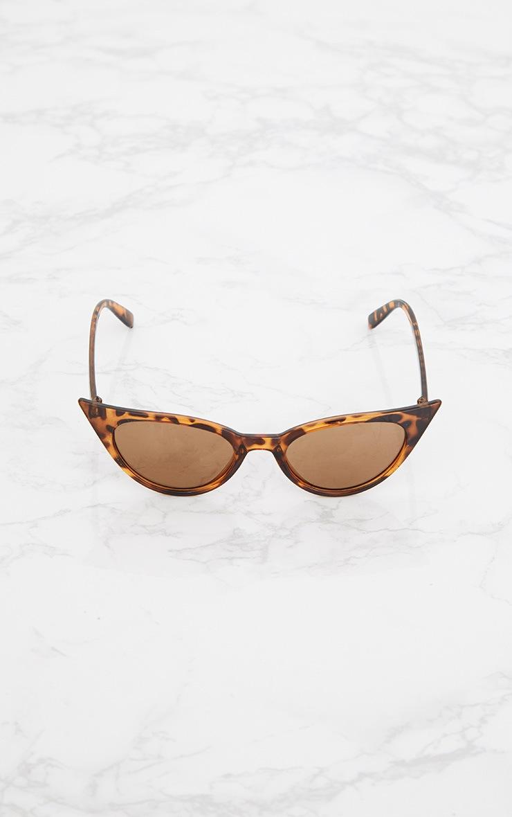 Brown Tortoiseshell Extreme Cat Eye Retro Sunglasses 5