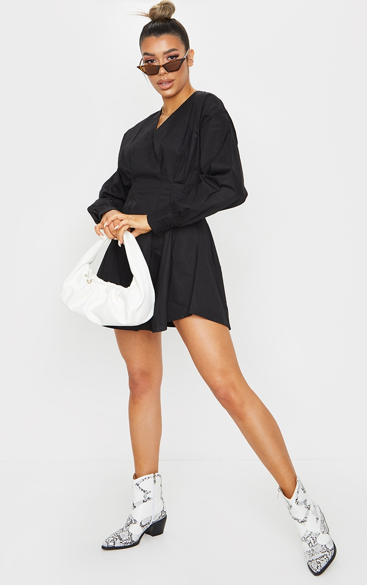 Black Woven V Neck Pleated Waist Shirt Dress 1