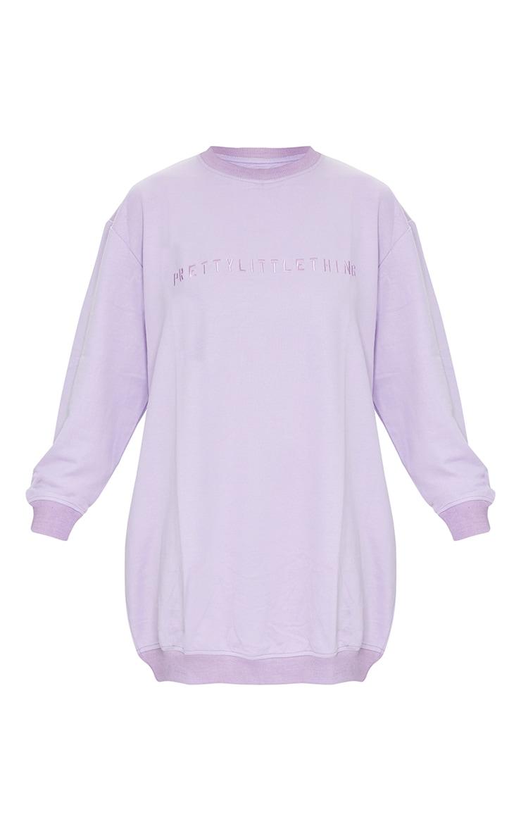 PRETTYLITTLETHING Lilac Slogan Sweat Jumper Dress 5