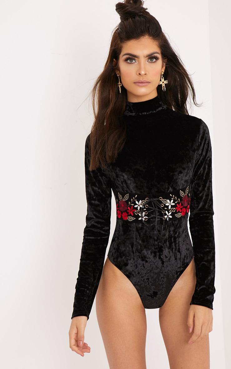 Arielle Black Velvet Longsleeve Corset Detail Thong Bodysuit 1