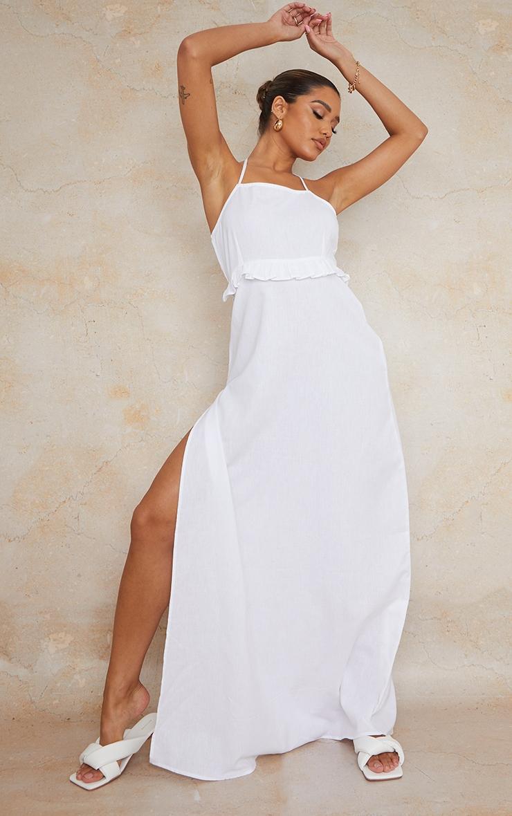 White Linen Underbust Frill Halterneck Maxi Dress 2