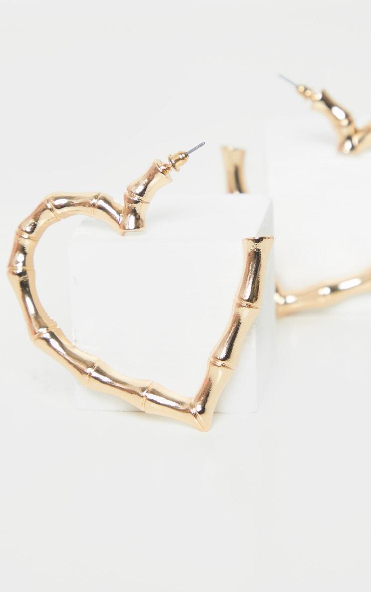 Gold Bamboo Heart Hoop Earrings 3