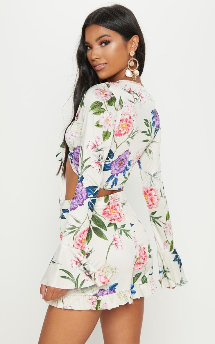 Nude Slinky Floral Tie Front Crop Top 2