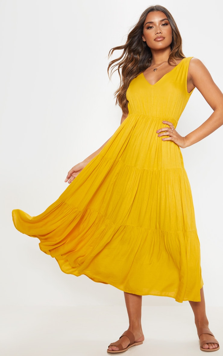Mustard V Neck Tiered Midaxi Dress 1