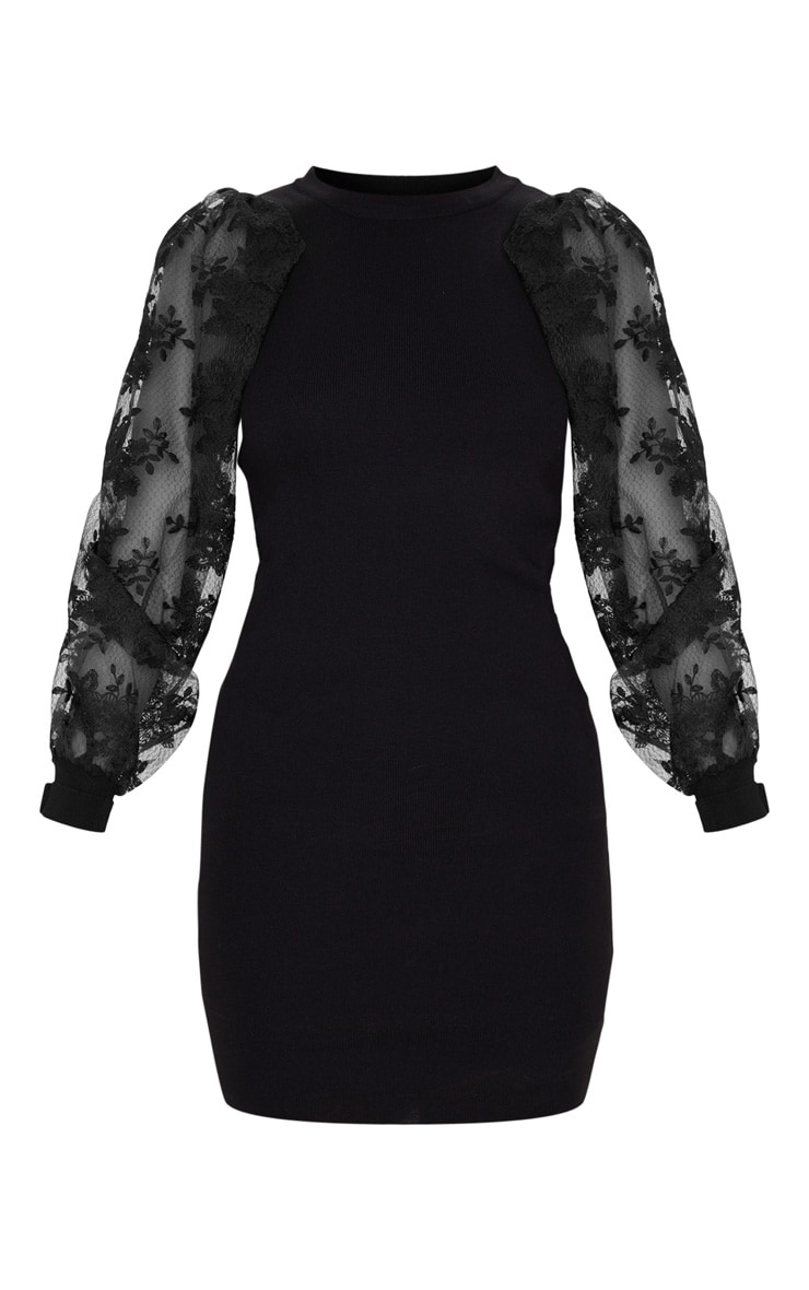 Black Embroidered Mesh Sleeve Knitted Dress 3