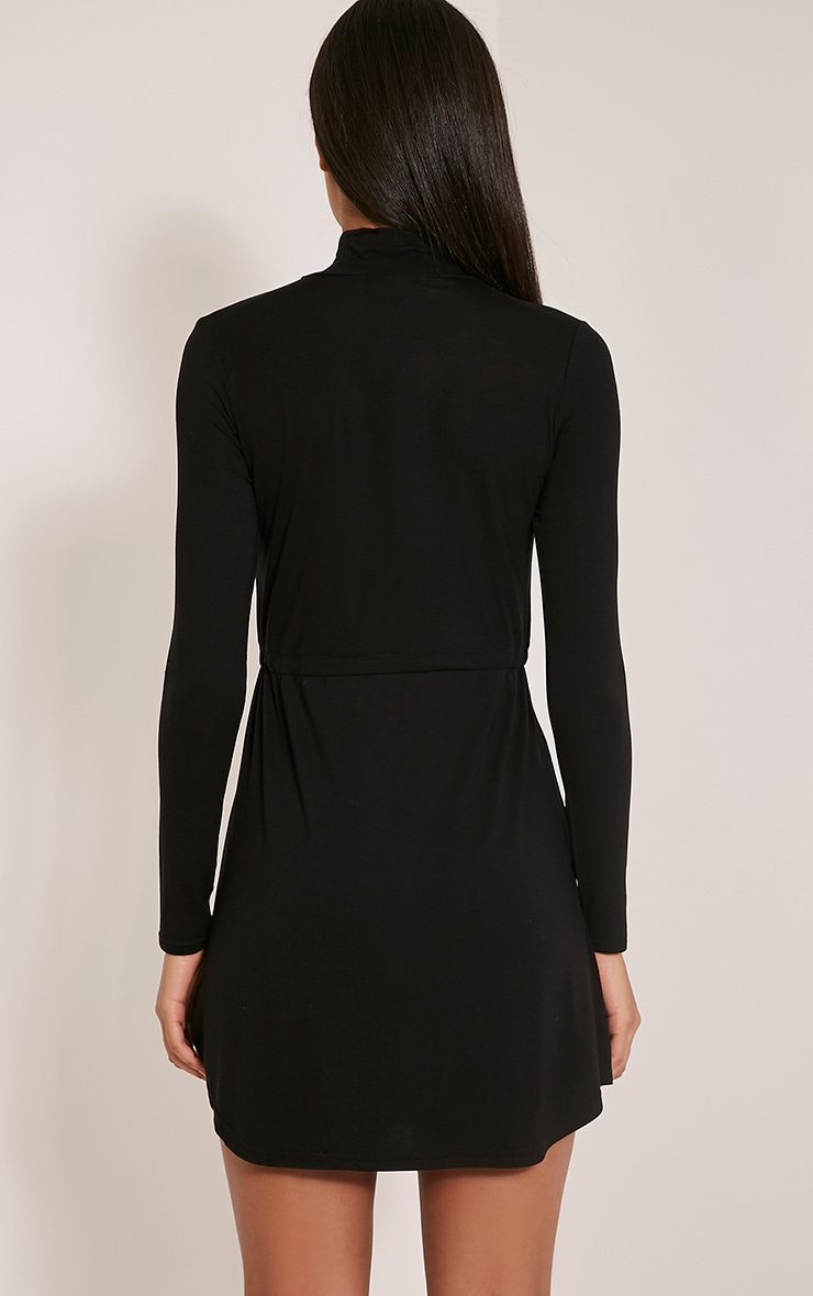 Dorathea Black Tie Waist Long Sleeve Jersey Dress 2