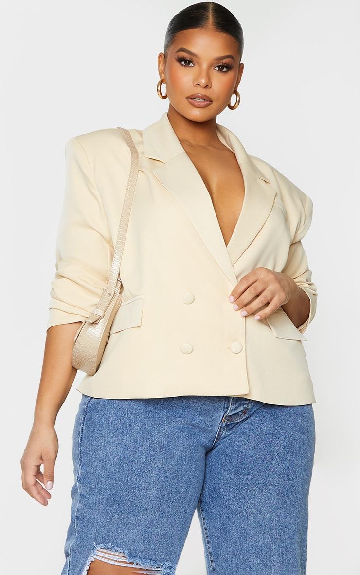 PLT Plus - Blazer oversize gris pierre à épaulettes et double boutonnière 1