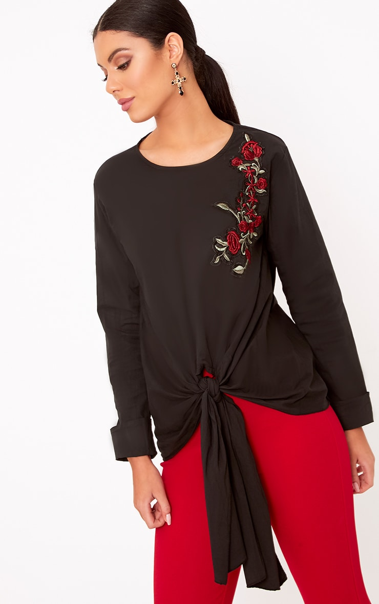 Talin Black Floral Applique Tie Front Shirt 1