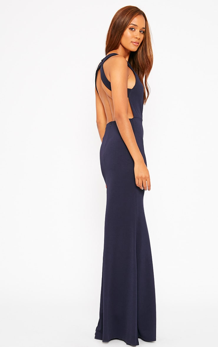 Brandy Navy Plunge Maxi Dress 4