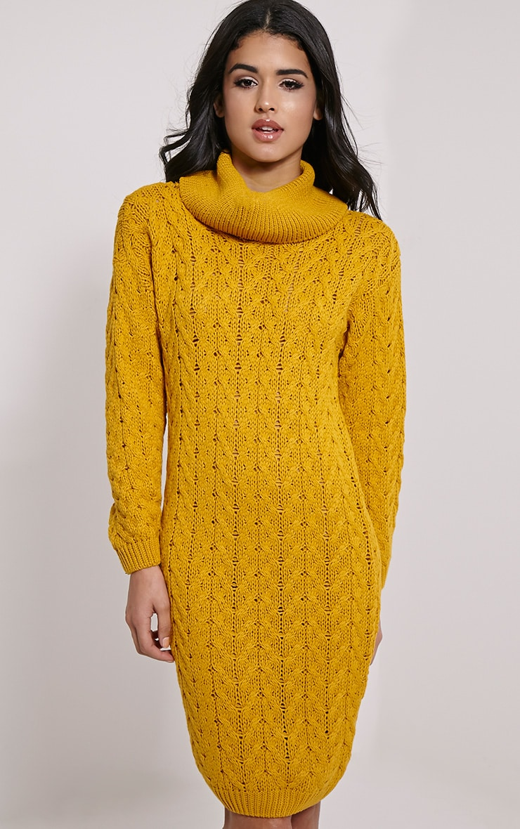 Stormie Mustard Cable Knit Long Length Jumper Dress 4