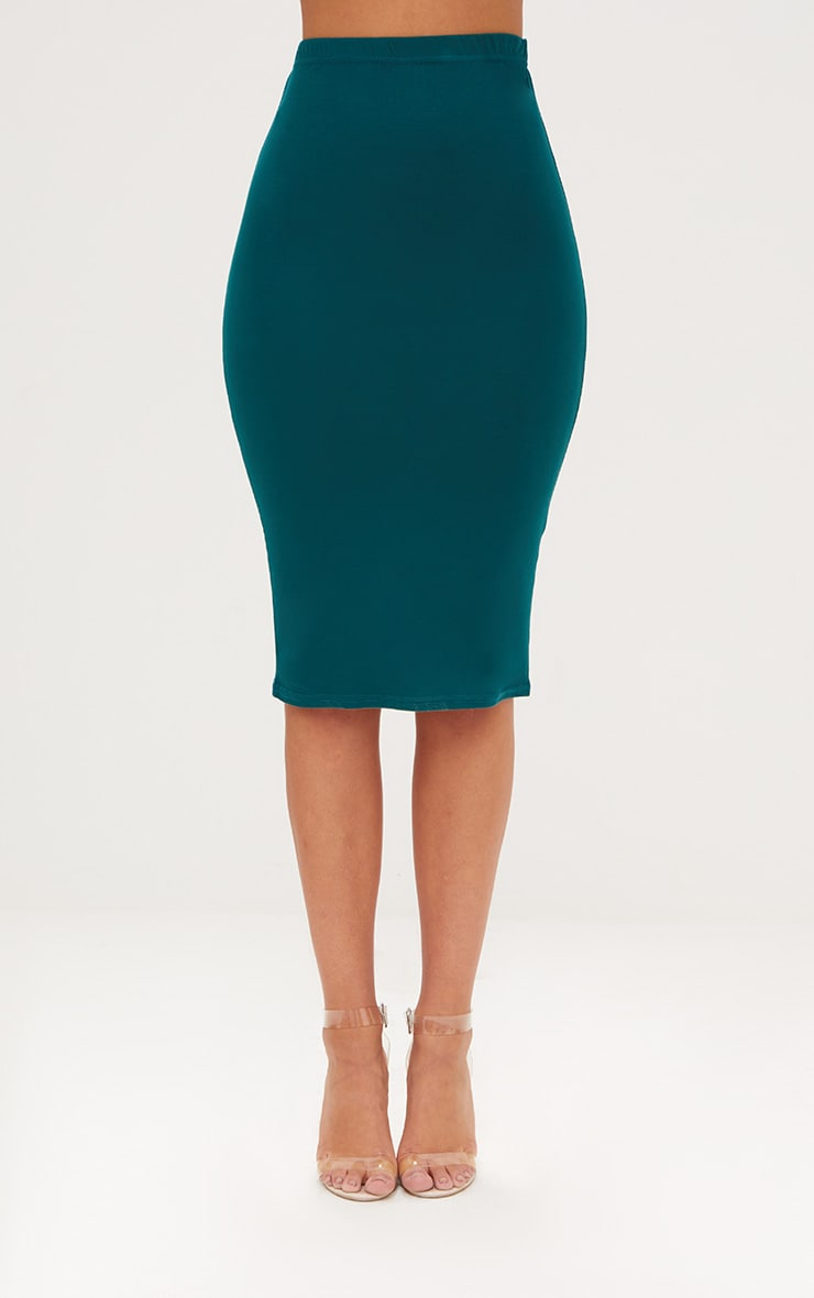 Taupe & Emerald Green 2 Pack Jersey Midi Skirt 5