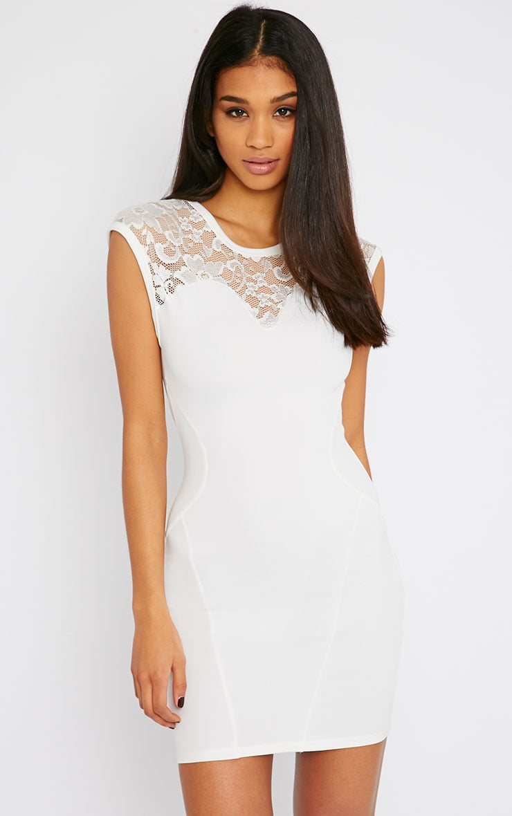 Anabella Cream Lace Insert Mini Dress 1
