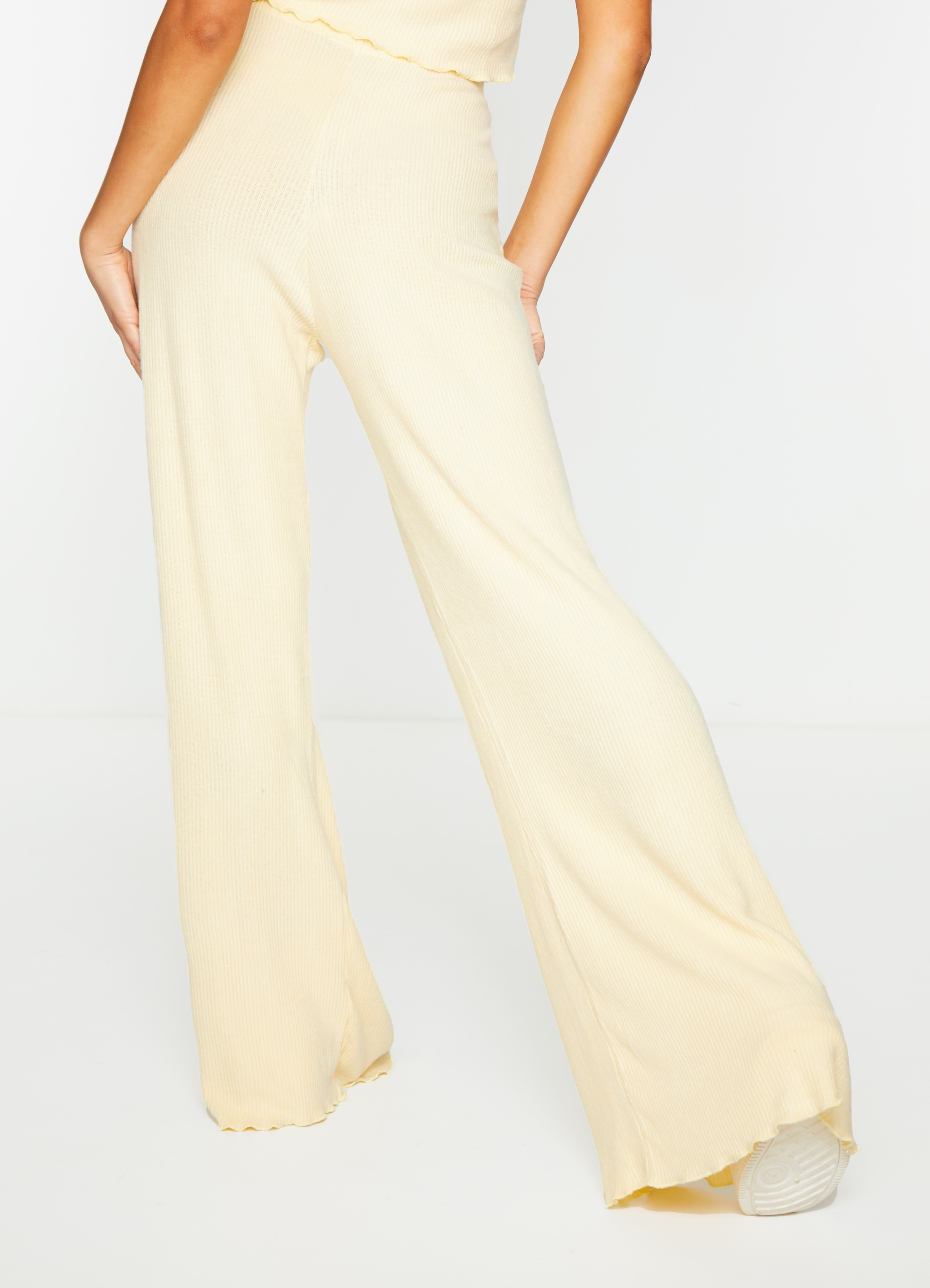 Sand Brushed Rib Frill Hem Wide Leg Trousers 3