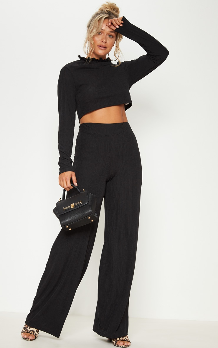 Black Rib High Waisted Wide Leg Trouser