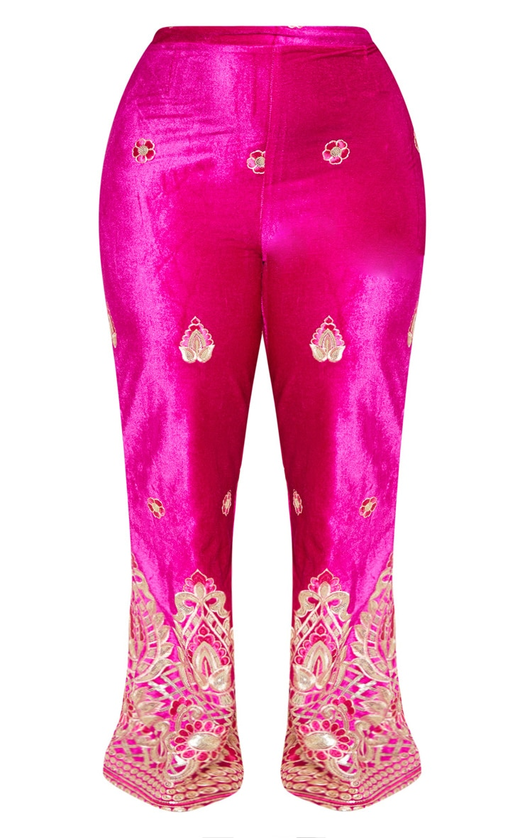 Plus Fuchsia Velvet Paisley Embroidered Flare Pants 4
