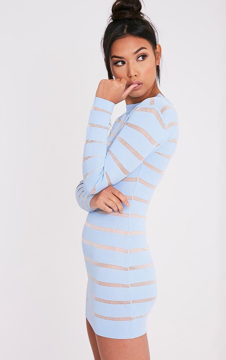 Jamesina Powder Blue Mesh Panel Knitted Mini Dress 4