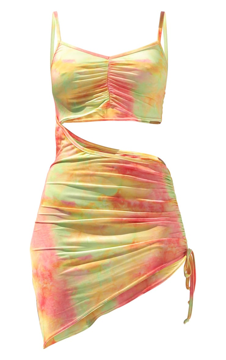 Multi Tie Dye Slinky Cut Out Ruched Bodycon Dress 5