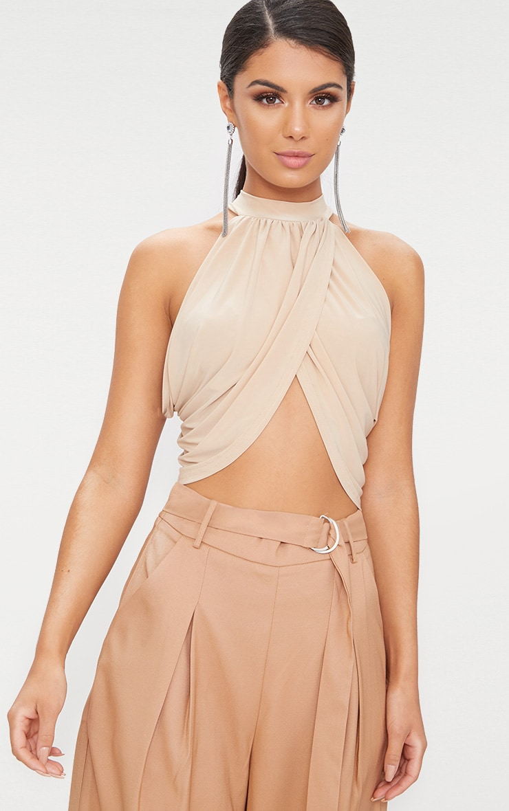 Champagne Neck Wrap Crop Top  1