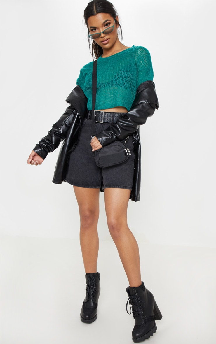 Teal Laguna Knitted Wide Sleeve Cropped Jumper 4