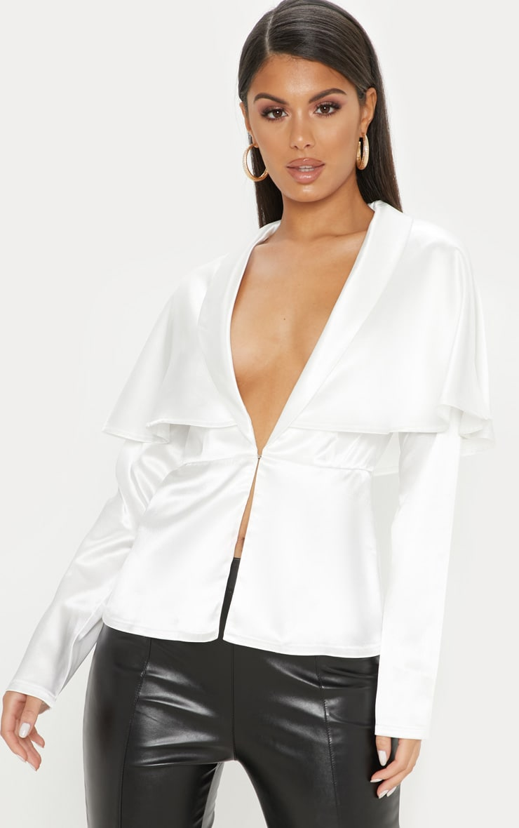 White Cape Detail Satin Plunge Shirt 1