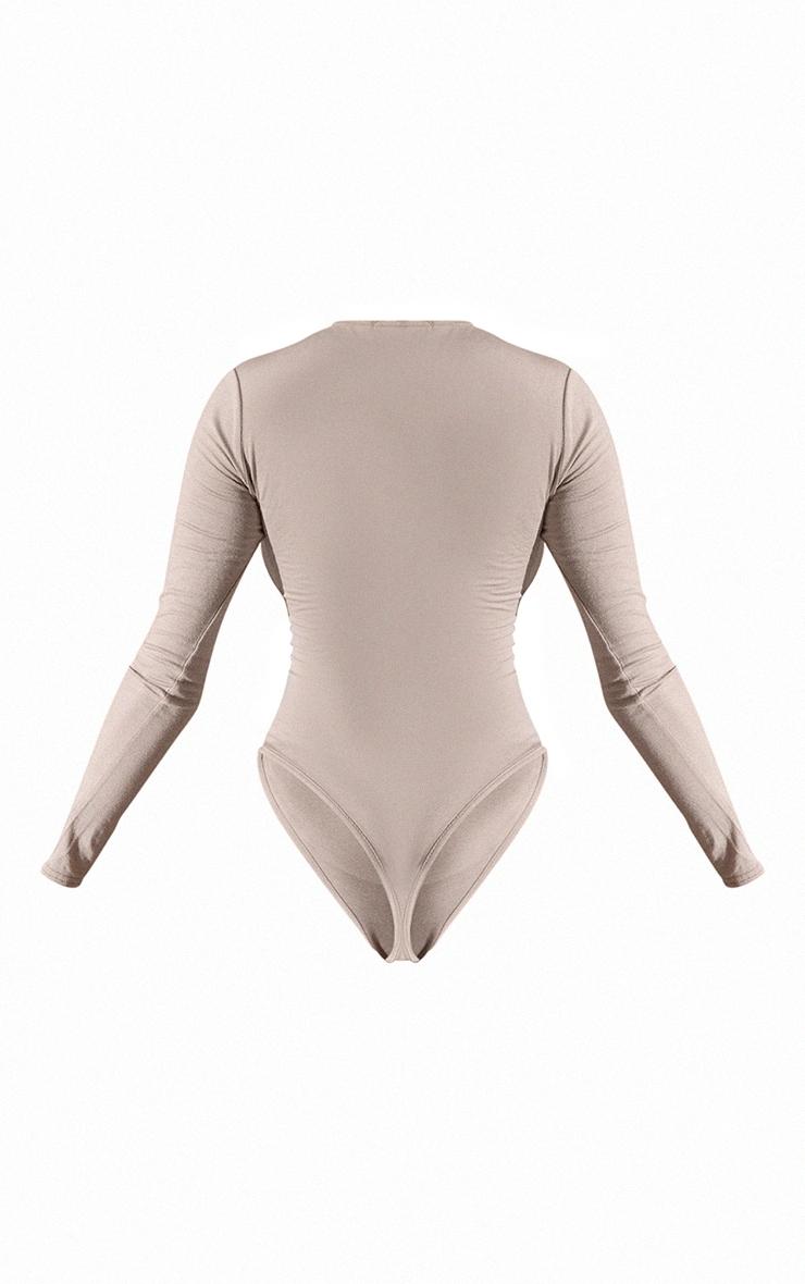 Basic Stone Crew Neck Long Sleeve Bodysuit 3