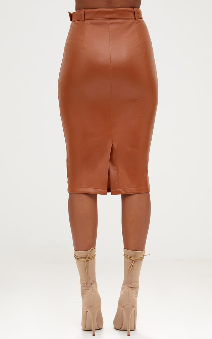 Tan Faux Leather Belted Midi Skirt 4