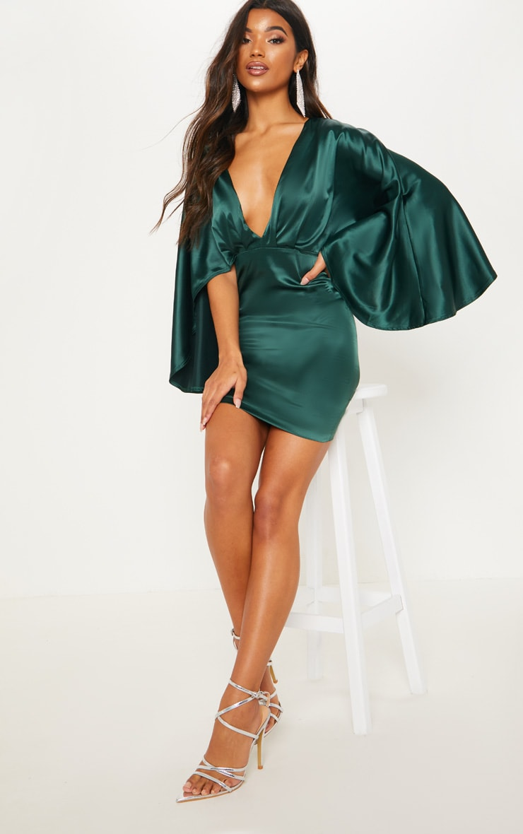 20993b9045b0 Emerald Green Satin Plunge Cape Bodycon Dress image 1