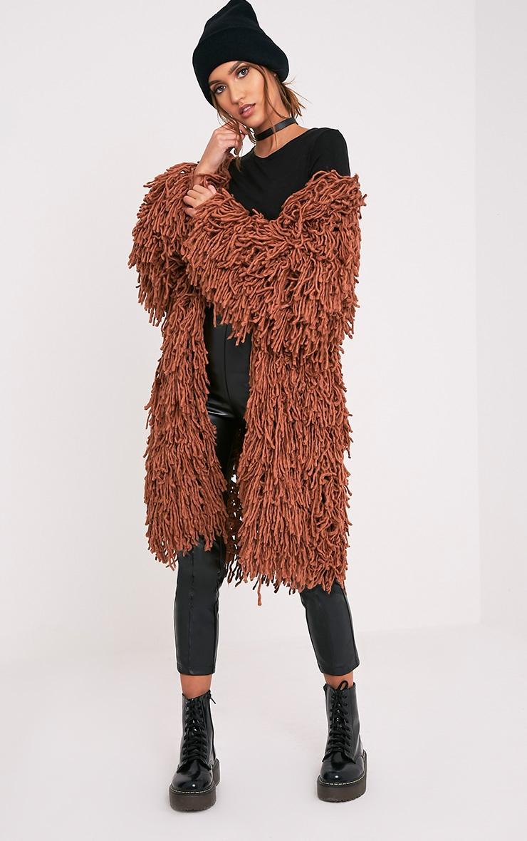 Aslina Cinnamon Shaggy Knit 3/4 Length Cardigan 5
