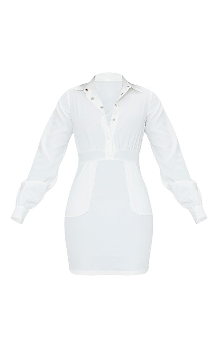 Robe moulante blanche à poches et boutons pression 5