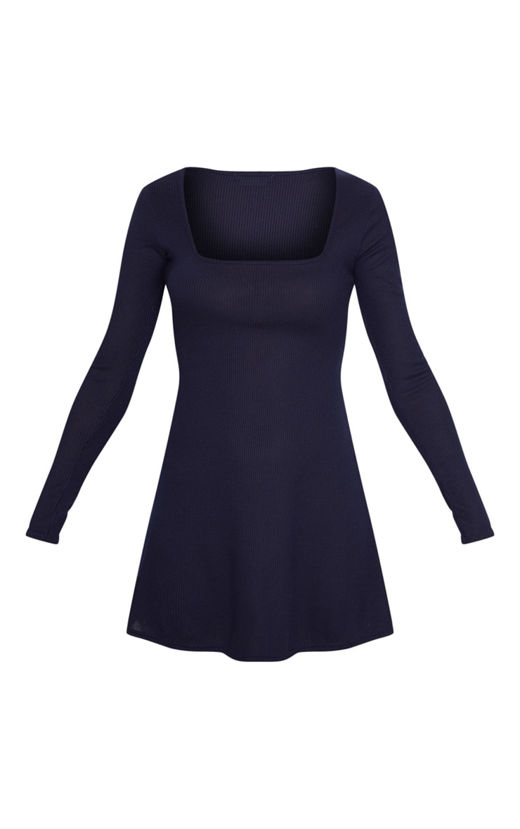 Navy Ribbed Square Neck Long Sleeve Shift Dress 3