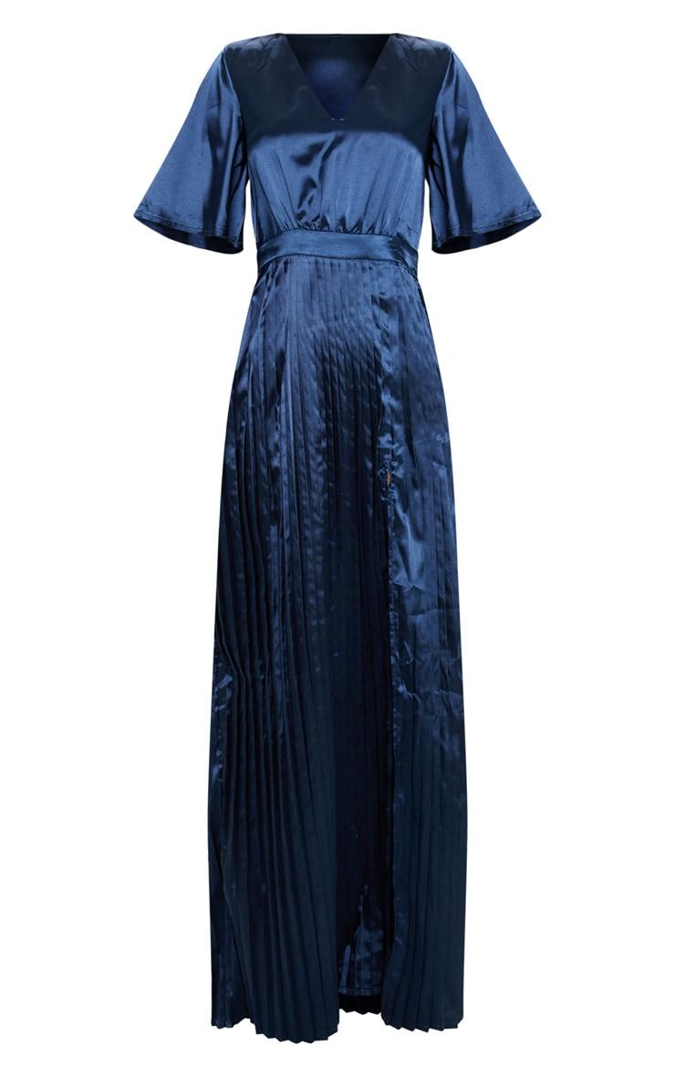 Navy Satin Flared Sleeve Pleated Maxi Dress 3