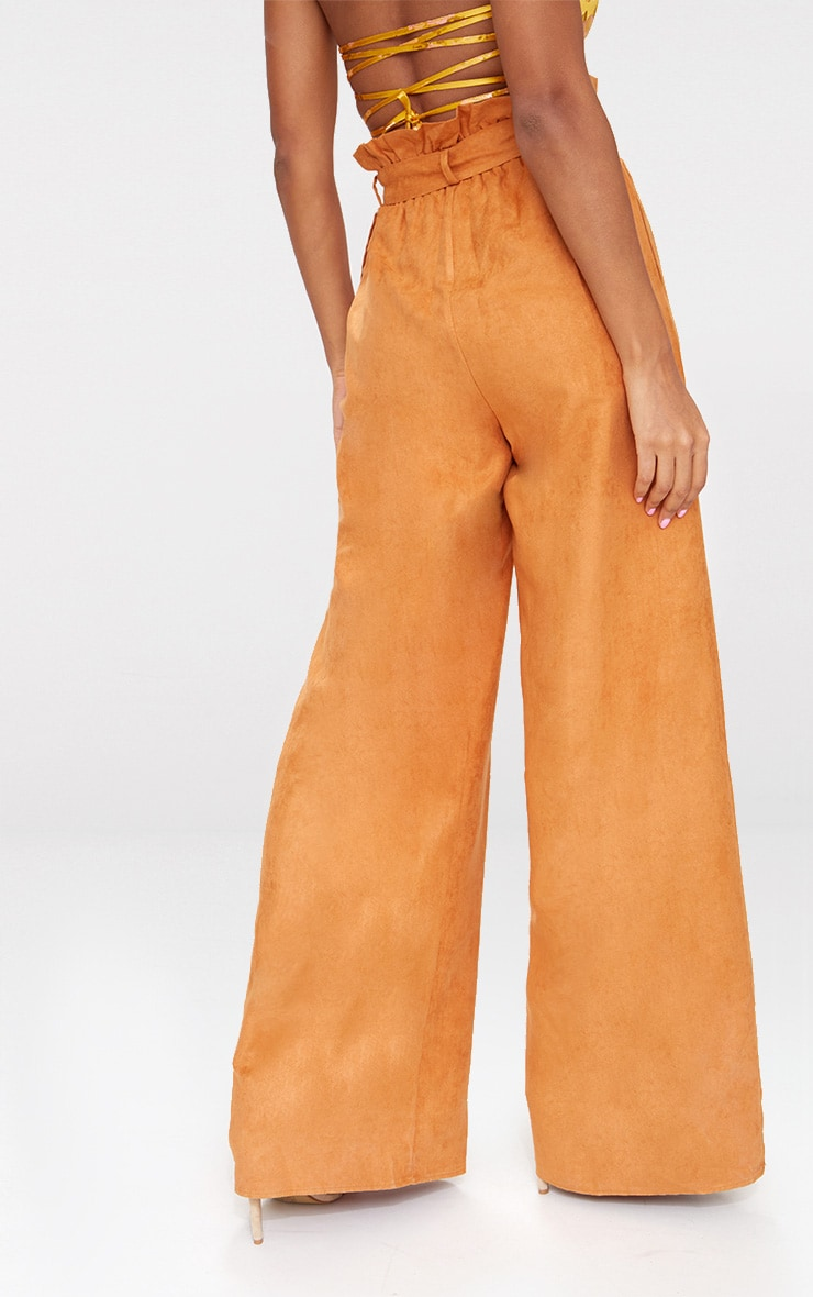 Tan Faux Suede Paperbag Wide Leg Trousers 4