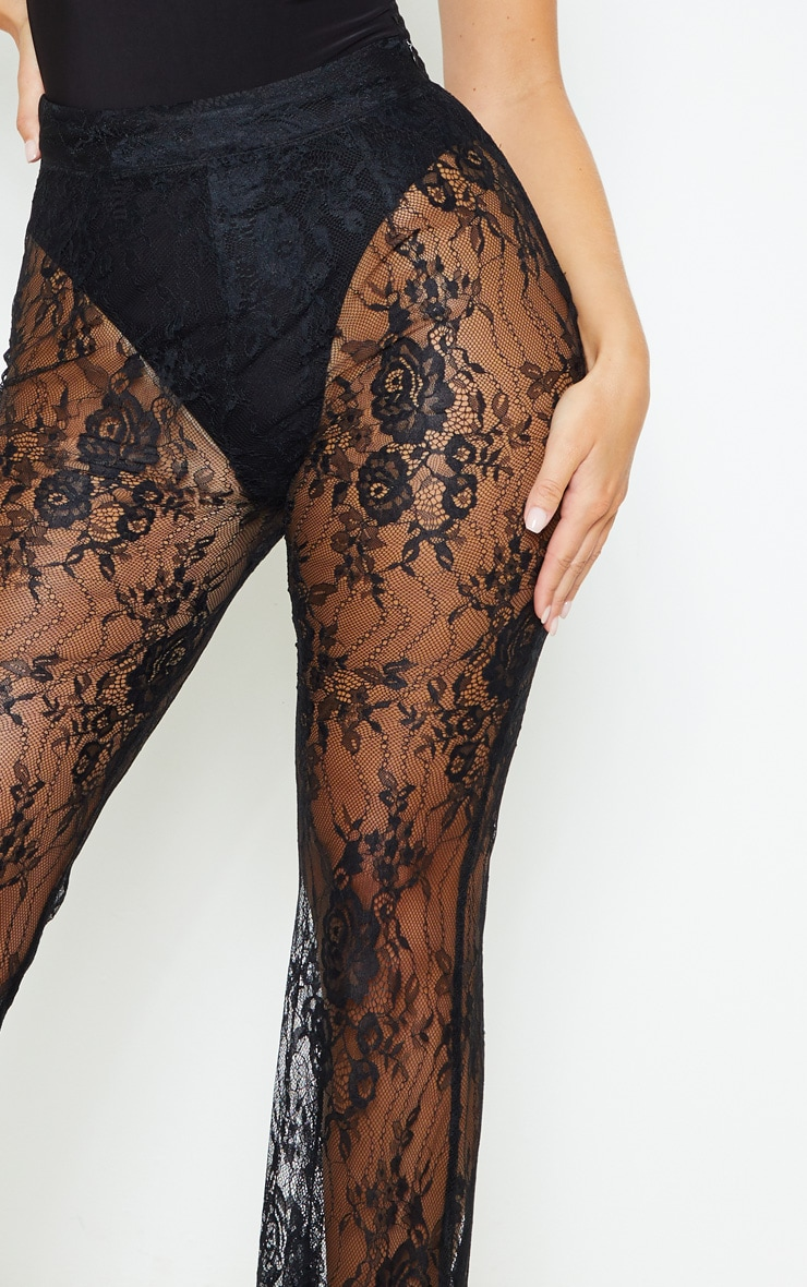 Black Lace Flare Leg Trouser 5