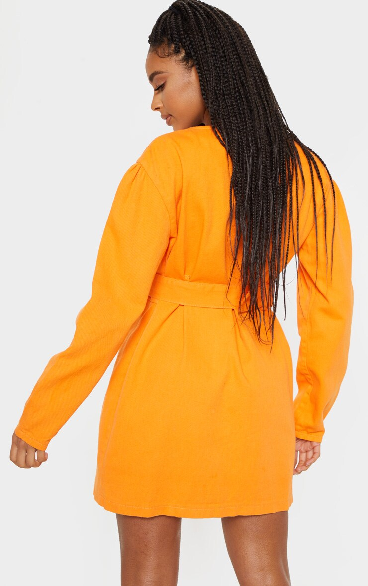 Bright Orange Belted Wrapover Denim Dress 2