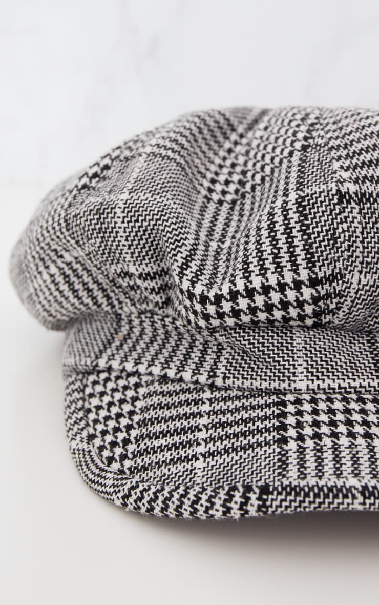 Monochrome Checked Baker Boy Hat 5