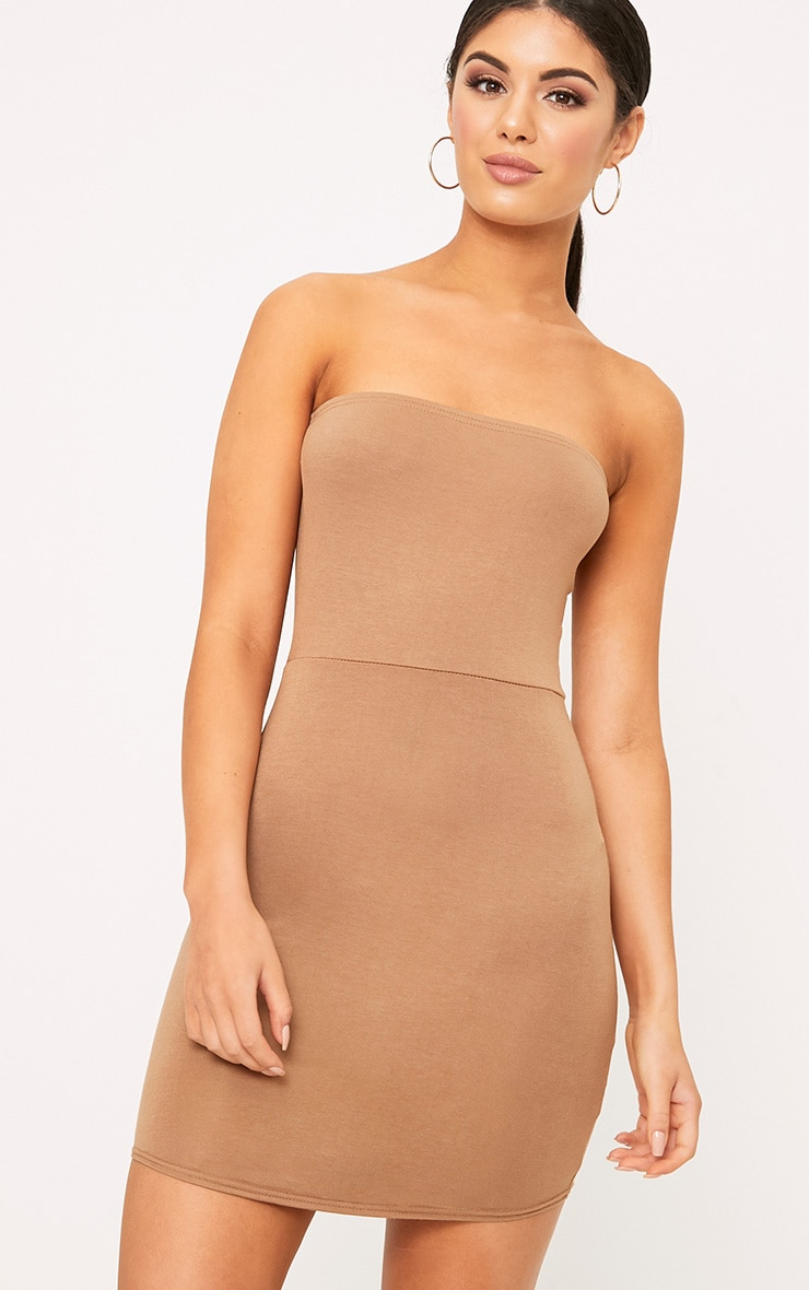 Camel Curve Hem Bandeau Bodycon Dress 1