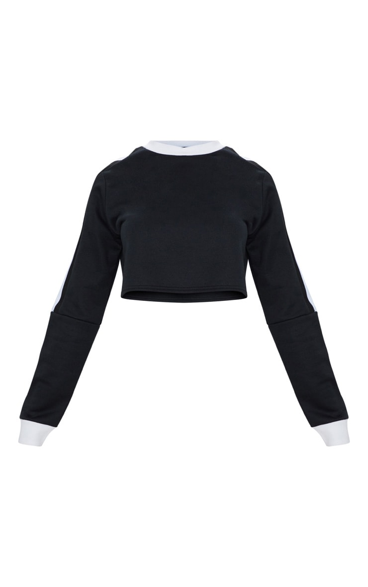 Black Triple Shoulder Stripe Crop Sweater  3