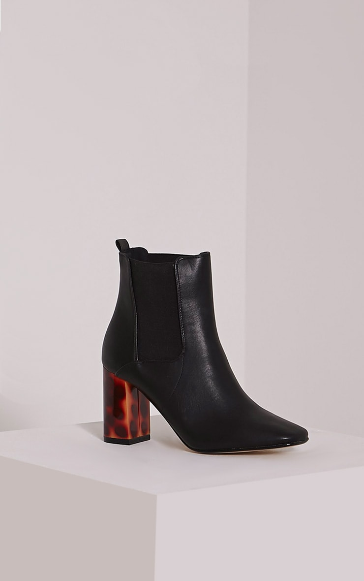 Lovia Black Tortoise Shell Block Heel Ankle Boot 3