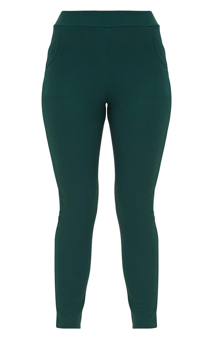 Emerald Green Crepe Skinny Trousers 3