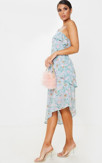 Dusty Blue Floral Print Chiffon One Shoulder Midi Dress