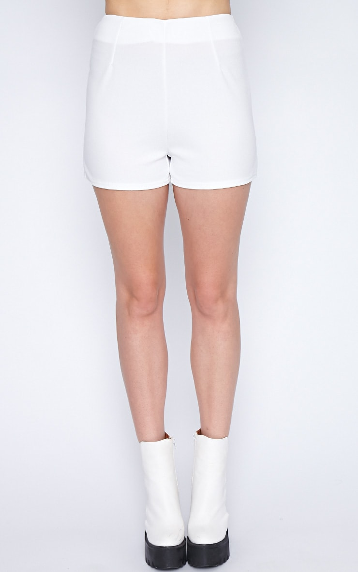 Aubrey White Textured High Waist Short  4