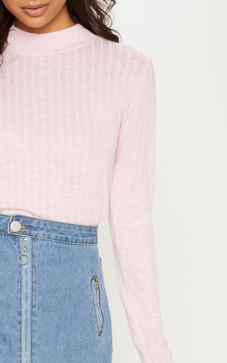 Baby Pink Long Sleeve High Neck Top 5